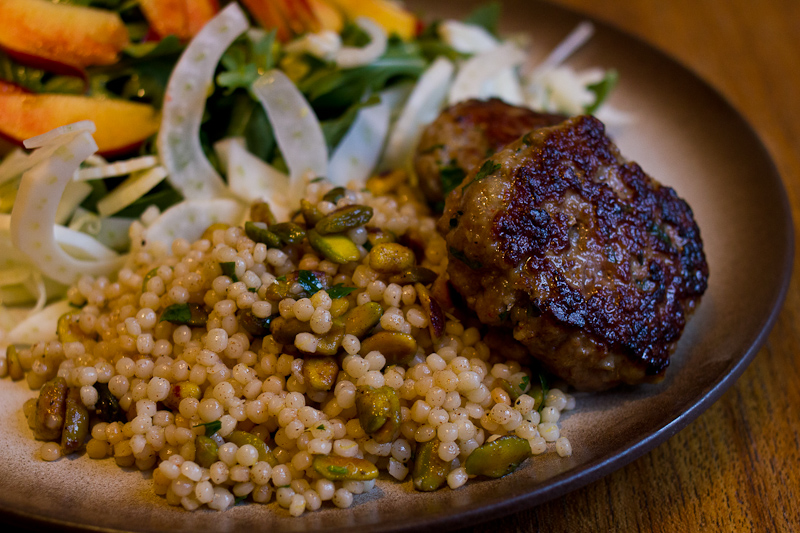 lamb meatballs with pistachio couscous | Full recipe at The Answer is Always Pork