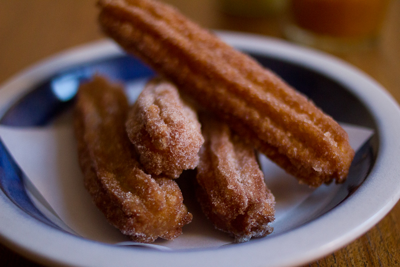 churros with whiskey sauce and peach compote | Full recipe at The Answer is Always Pork